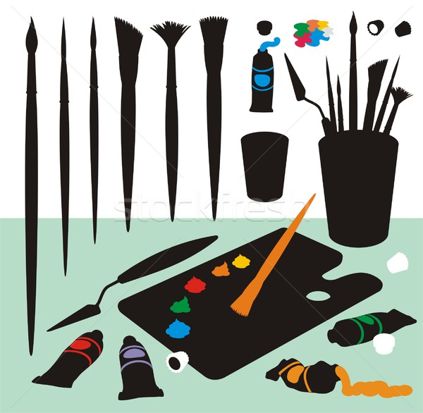 Art Supplies Color Silhouettes Stock photo © HouseBrasil