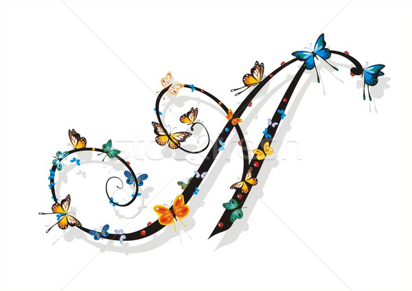 Flat Shaded Letter A with Butterflies Stock photo © HouseBrasil