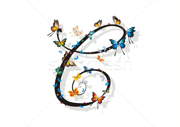 Flat Shaded Letter C with Butterflies Stock photo © HouseBrasil