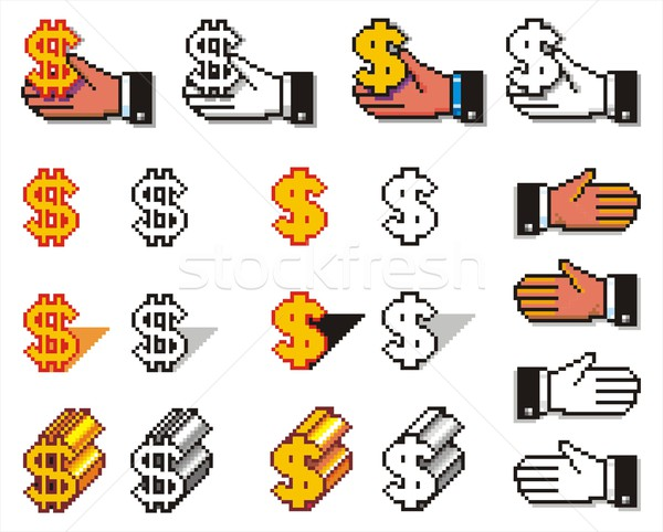Pixelated Hands and Currency Simbols Stock photo © HouseBrasil
