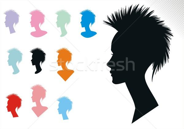 Nő haj stílusok kettő frizura sziluett Stock fotó © HouseBrasil