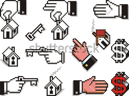 Cursor manos armas claves establecer Foto stock © HouseBrasil