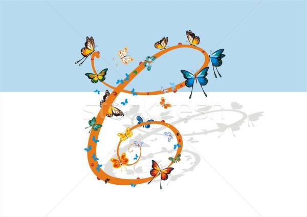 Letter c perspectief schaduw hoofdletter vlinders Stockfoto © HouseBrasil