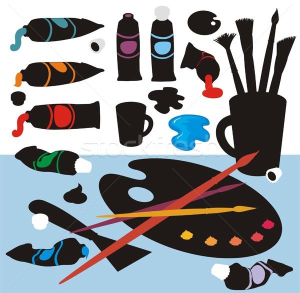 Kunst kleur silhouetten clip art collectie penselen Stockfoto © HouseBrasil