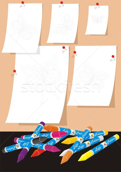 Butterflies for School Coloring Two Stock photo © HouseBrasil