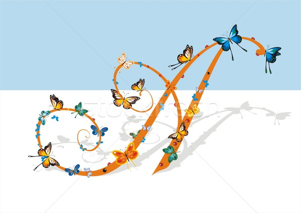 Levél pillangók nézőpont árnyék nagybetű díszes Stock fotó © HouseBrasil