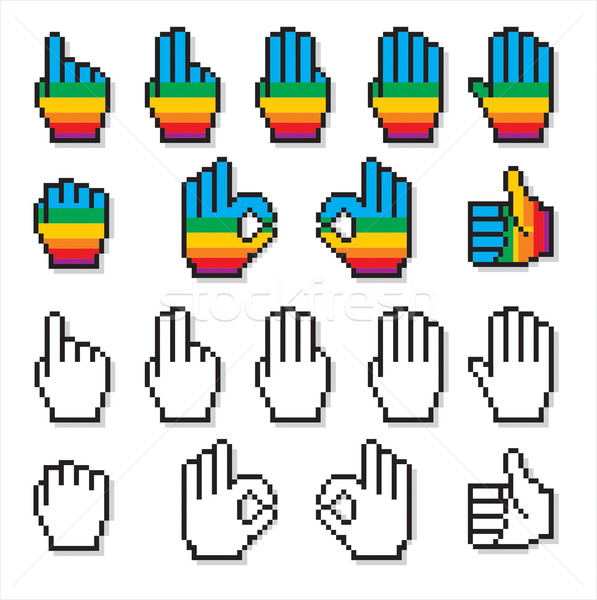 Pixelated Cursor Hands Set Stock photo © HouseBrasil