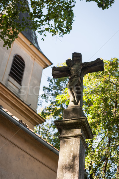 Statue of Jesus Christ crucifixion in front of a catholic church Stock photo © hraska
