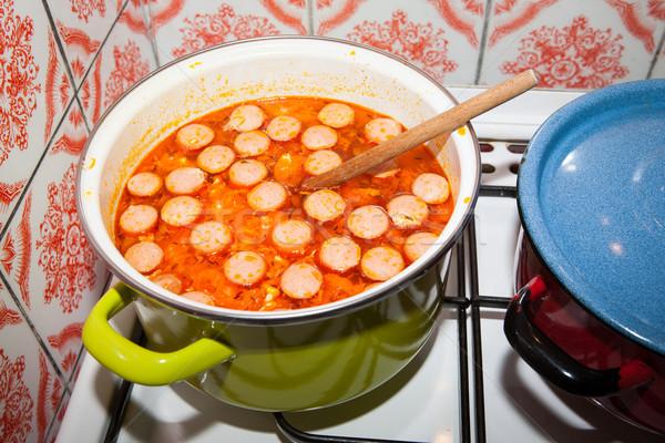 Fűszeres kolbász leves hagyományos könnyű tojások Stock fotó © hraska