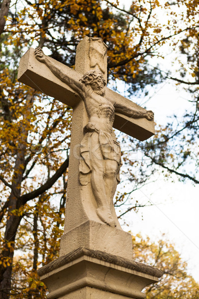 Jesus christ croix statue automne arbres Photo stock © hraska
