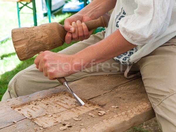 ács munka kezek dolgozik véső művészet Stock fotó © hraska