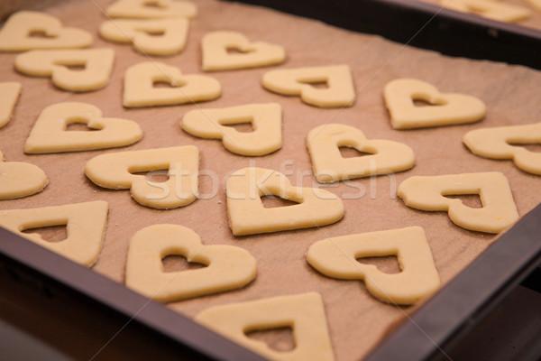 Preparazione dolci cuori foglio pronto cottura Foto d'archivio © hraska