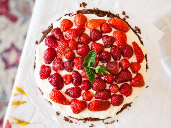 Fraîches fraise tarte maison gâteau fraises Photo stock © hraska