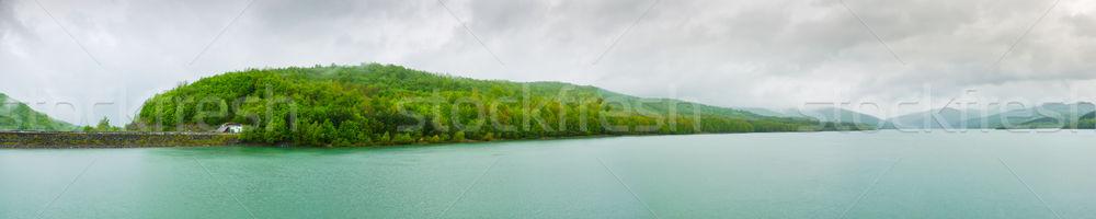 Víztározó panoráma part esős égbolt tavasz Stock fotó © hraska