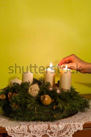 White candles on Advent wreath Stock photo © hraska