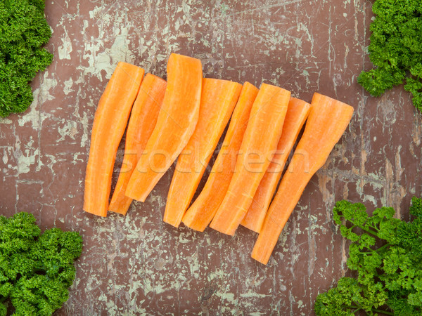 Stock photo: Fresh cutted herbs and carrot