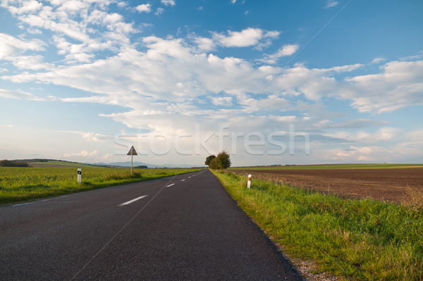 Oneindig asfalt weg kijken mooie zonnige Stockfoto © hraska