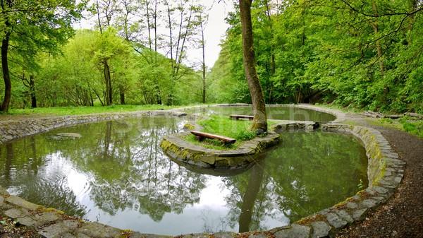 Panchina acqua due isola piccolo lago Foto d'archivio © hraska