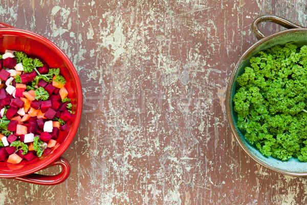 Sopa de legumes preparação topo ver ingredientes argila Foto stock © hraska