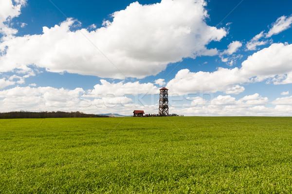 Houten velden toren veel bezoekers top Stockfoto © hraska