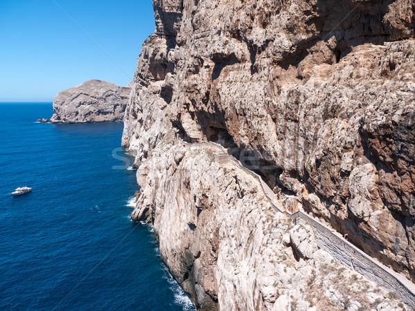 Mağara uçurum gökyüzü su doğa Stok fotoğraf © hraska