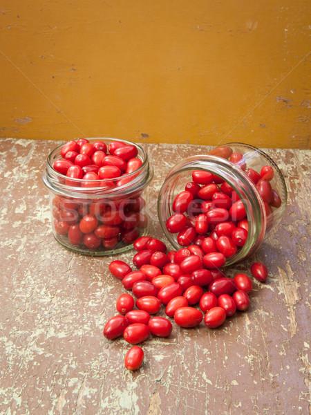 Anime piros bogyók üveg kész étel Stock fotó © hraska