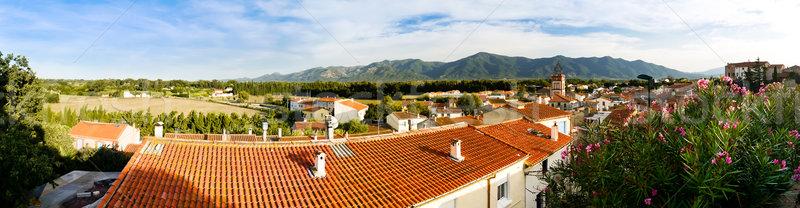 Vidék panorámakép kilátás tetők házak ház Stock fotó © hraska