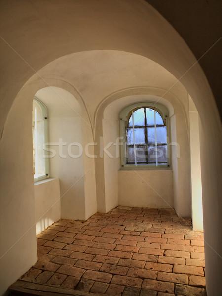 Belső történelmi épület tégla padló égbolt Stock fotó © hraska