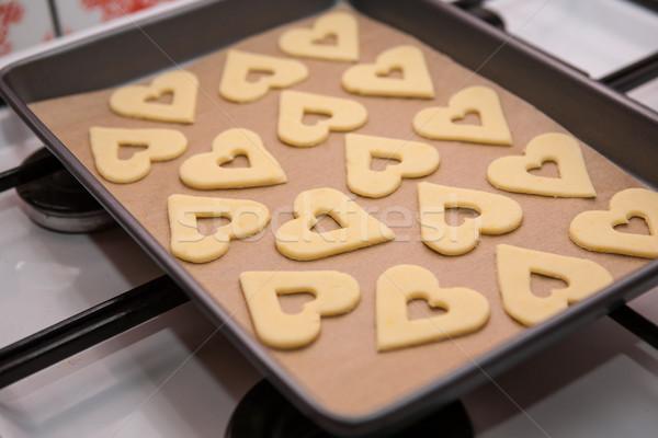 Cuori preparazione cookies pronto cottura forno Foto d'archivio © hraska