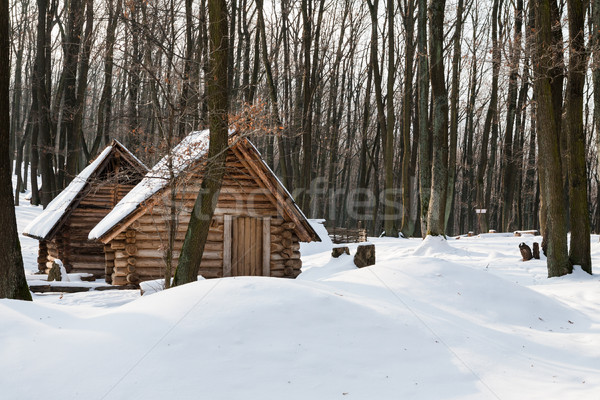 Wooden houses in snow at winter morning Stock photo © hraska