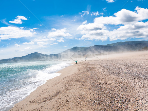 Stoffig zomer strand kinderen winderig voorjaar Stockfoto © hraska
