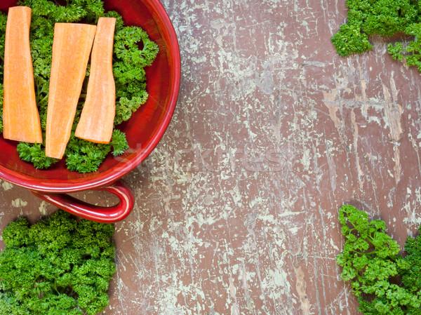 Organique carottes bol fraîches herbes Photo stock © hraska