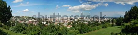 Bratislava oraş panoramă Slovacia cer copac Imagine de stoc © hraska