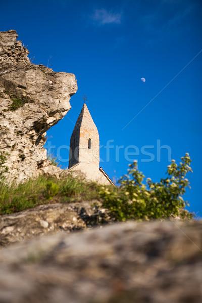 Vidék templom öreg tégla templomtorony természetes Stock fotó © hraska