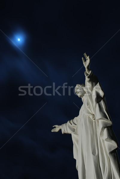 Moon beyond Jesus Christ statue Stock photo © hraska