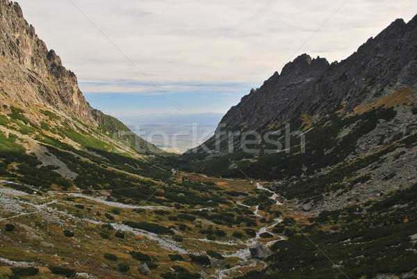 Montagna chiuso cielo blu cielo nubi sfondo Foto d'archivio © hraska