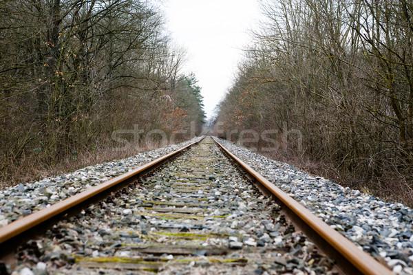 Vieux abandonné chemin de fer gravier coucher du soleil Photo stock © hraska