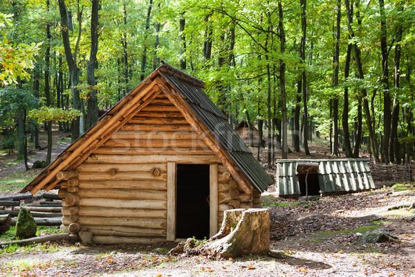 Antica ricostruzione legno case storico casa Foto d'archivio © hraska