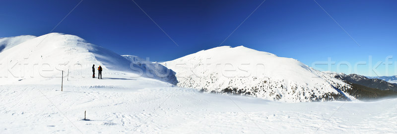 Hikers on a mountain ridge Stock photo © hraska