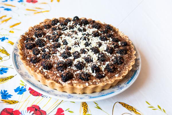 Homemade blackberry tart Stock photo © hraska