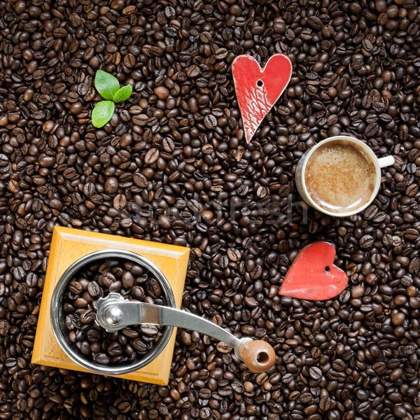 Kávé szív alak pörkölt kávé daráló csésze Stock fotó © hraska