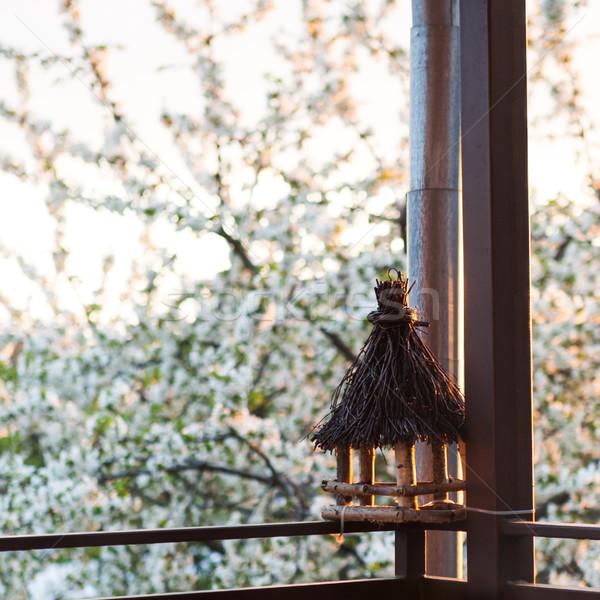 Bird feeder on balcony Stock photo © hraska