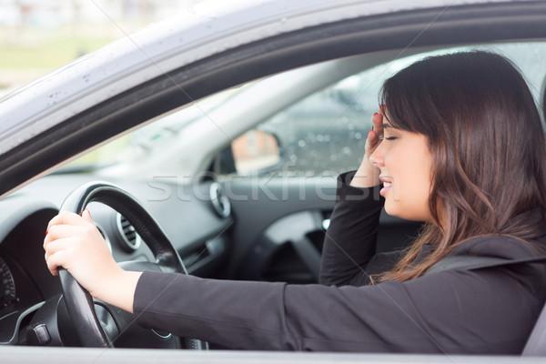 Não mulher pânico carro acidente negócio Foto stock © hsfelix