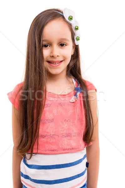 Fiatal csinos gyönyörű fiatal lány pózol izolált Stock fotó © hsfelix