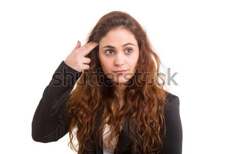 Meglepődött fiatal nő izolált fehér divat haj Stock fotó © hsfelix