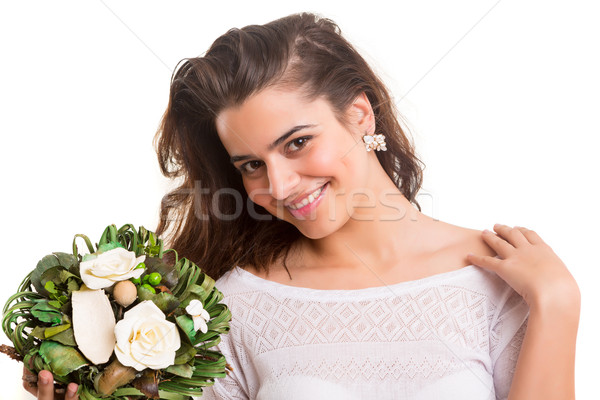 Woman with bunch of flowers Stock photo © hsfelix
