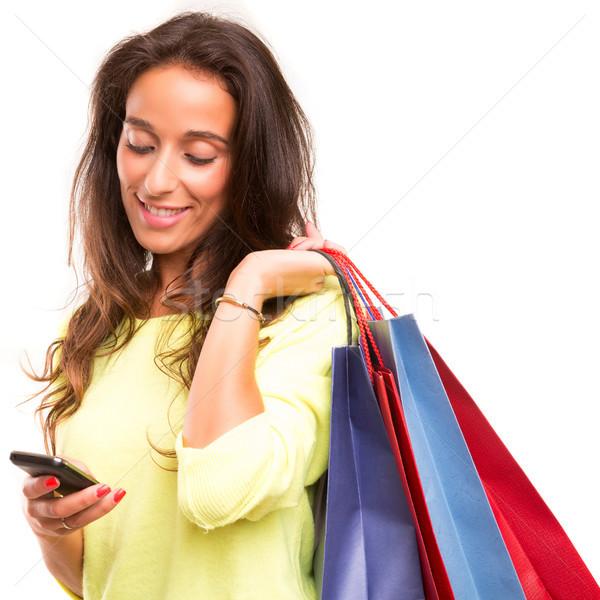 Zakupy szczęśliwy piękna kobieta kobieta zimą Zdjęcia stock © hsfelix