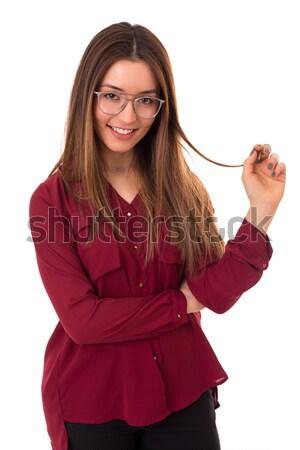 Fiatal gyönyörű nő mutat izolált fehér nő Stock fotó © hsfelix