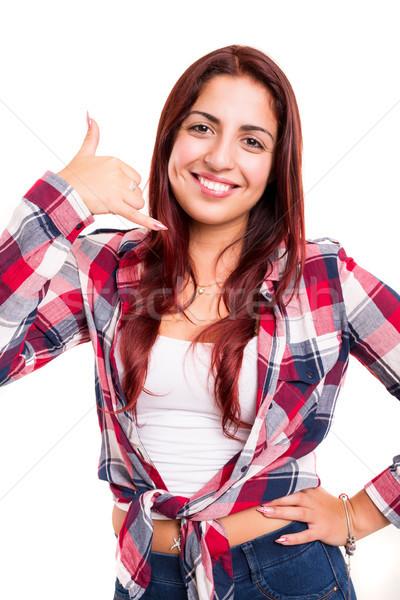 Chiamami felice giovani studente segno Foto d'archivio © hsfelix