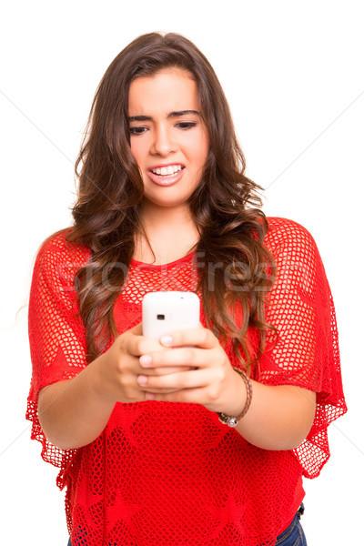Nastolatek stwarzające biały dziewczyna strony Zdjęcia stock © hsfelix